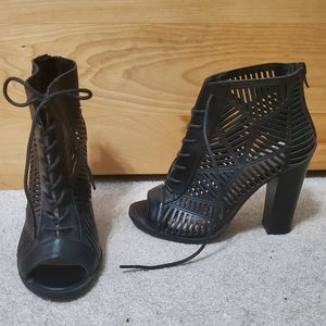 Black open-toe cut-out heeled booties